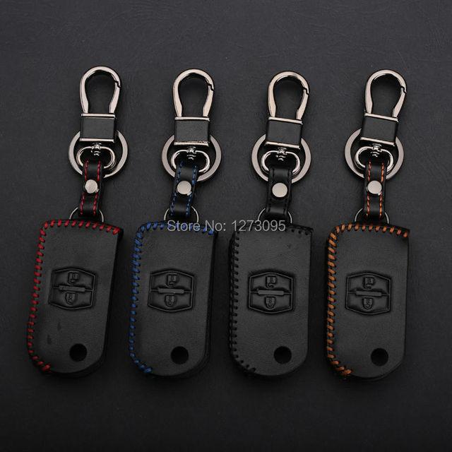 Сшитая рука Кожа Ключа Автомобиля Чехол Обложка для Mazda 2 3 5 6 8 Mazda 323 CX-7 CX-9 2 Кнопки Складной Ключ Бумажника Брелок аксессуар