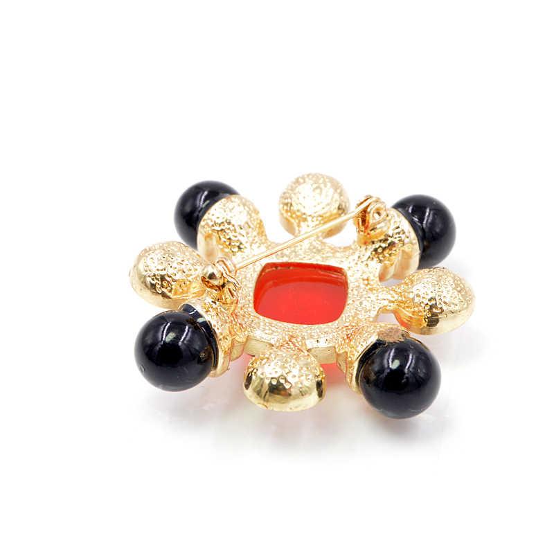 סינדי יאנג שרף חרוז אדום ושחור צבע צלב סיכת פין הבארוק סגנון תכשיטי בציר אופנה אביזרי חתונה סיכות