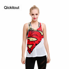 Qickitout Vest High Quality Tank Top Women's Fitness Vest Quick Dry Grid Sleeveless Vest Captain America Digital Printing Tank