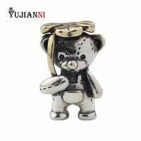 4 Leaf Charm 925 Silver Lucky Clover Bear Beads for DIY Jewelry Making Fits European Original Bracelet&Necklace