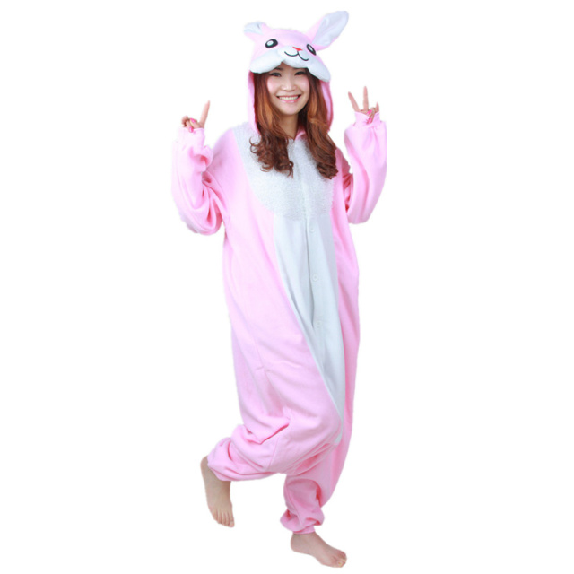 DOUBLA Adults Womens Pink Bunny Rabbit Costume Pajamas Halloween Cosplay Christmas Onesies Teenagers Girls Cartoon Lounge Wear