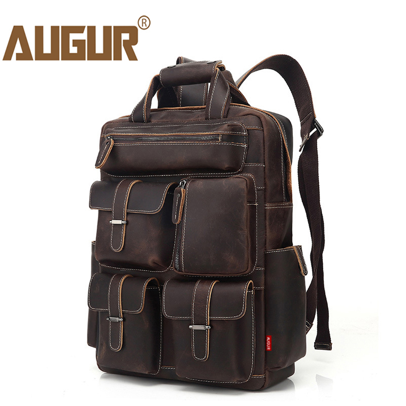 AUGUR Men's Backpack Retro Genuine Leather Backpack Multi Pocket waterproof Travelling Large Capacity Back bag Mochila Masculina free shipping 2018 uglyuros motorcycle retro back seat bag 883modified car multi function kit bag moto bag with waterproof cover