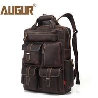 AUGUR Men's Backpack Retro Genuine Leather Backpack Multi Pocket waterproof Travelling Large Capacity Back bag Mochila Masculina