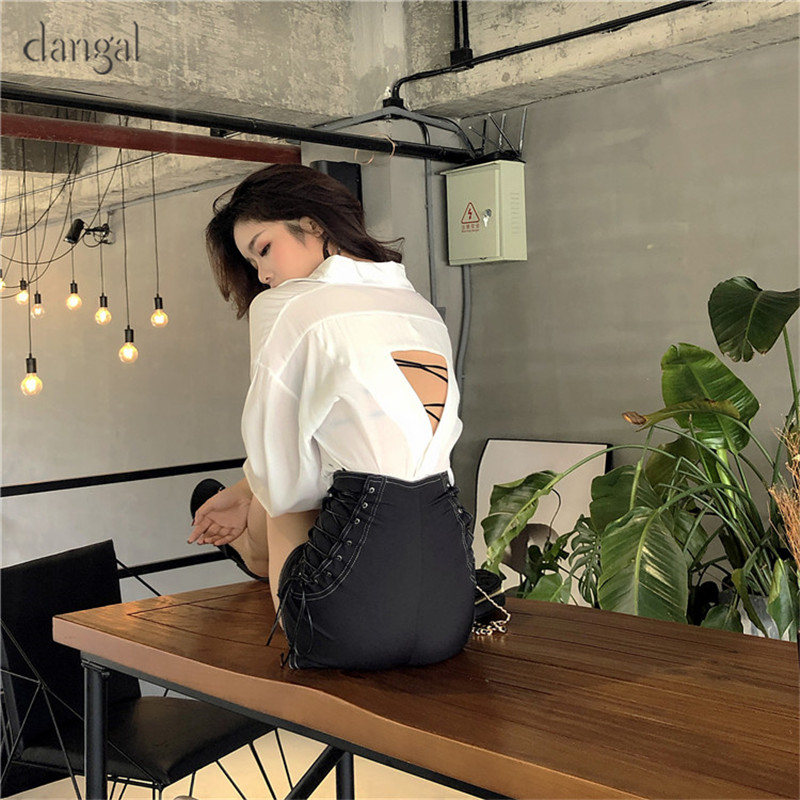 e5f545e2a82 Dangal Vintage Sexy Hole Shirt Women Loose Backless Blouse Womens Tops Shirt  Notched Neck Solid Vintage Blouses Feminine Shirts-in Blouses   Shirts from  ...