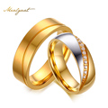 Meaeguet Jewelry His and Her For Titanium Steel Gold Color Wedding Engagement Band Couple Ring  6mm  (Price is 1 PCS)
