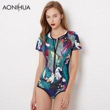 AONIHUA Swimwear Women One Piece Swimsuits 2018 Vintage Birds Print Green Leaves Short sleeve Surfing Bathing Swimming Wear XXL