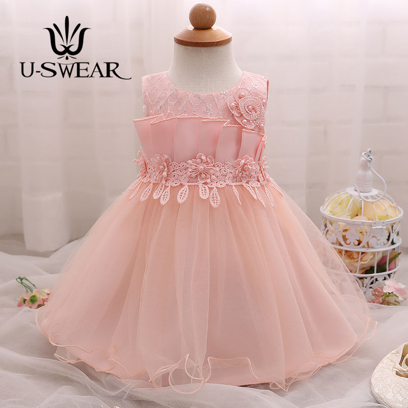 U-SWEAR 2019 New Arrival   Flower     Girl     Dresses   O-Neck Sleeveless Pearls Lace Beaded Chiffon Pageant   Dresses   For   Girls   Vestidos
