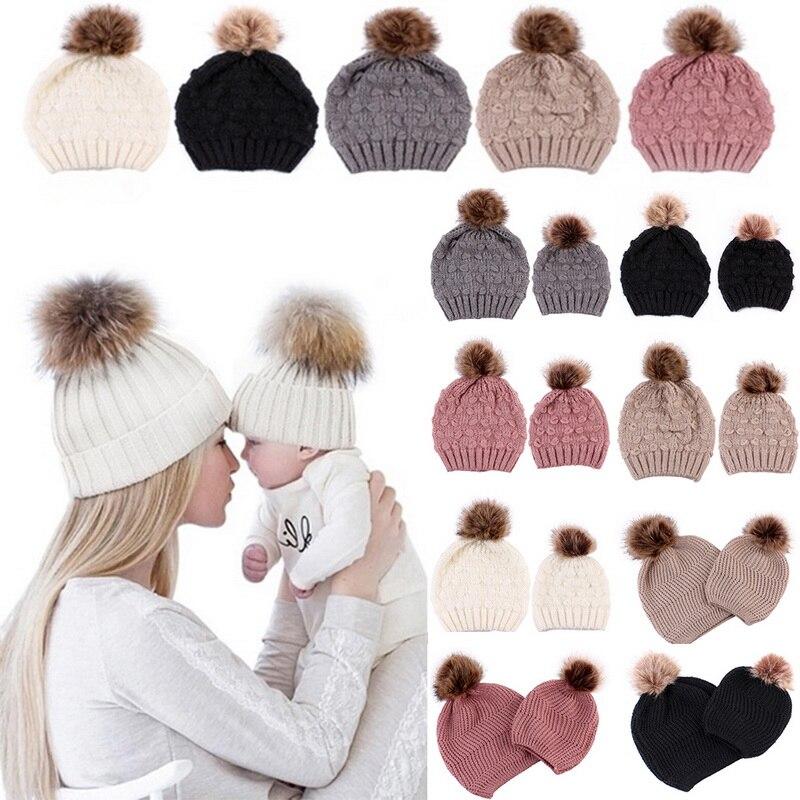 Hats & Caps Efficient 2pcs Sets Women Newborn Baby Hats Kids Warm Winter Knit Wool Beanie Fur Pom Bobble Hats Crochet Caps Mom And Baby Caps