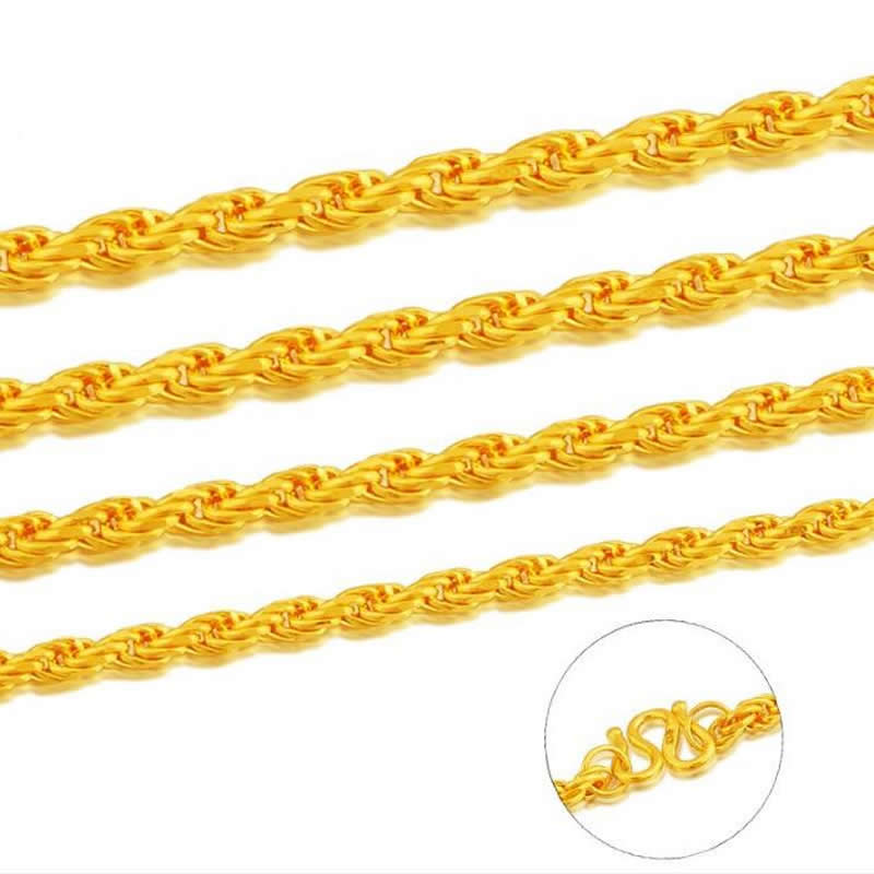 Pure Yellow Gold Rope Necklace/ 24K 999 Gold Heavy designer Necklace