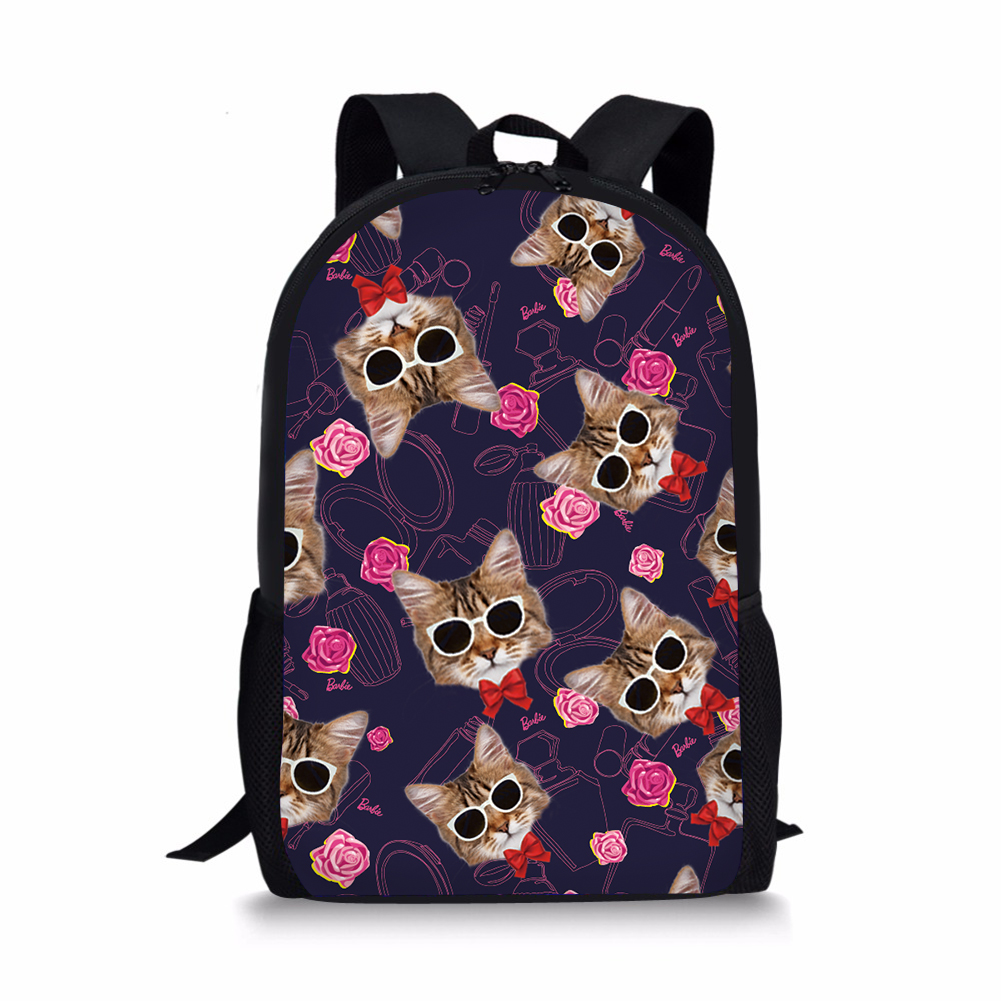 FLower Cats School Bags For Girls Cute Cartoon Animals Schoolbags Book Bags Knapsacks Students Kids Shoulder Children Bagpack