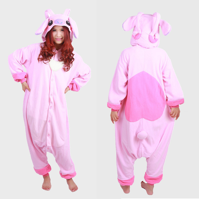 c0e744a52899 Adult Unisex Pink Lilo Angel Onesies Animal Cosplay Pajamas One Piece Suits Pink  Stitch Costume Adult Pyjamas for Women Men