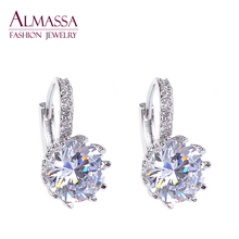 Almassa  Free Shipping Big Trendy White Gold Plated AAA+ Swiss Cubic Zirconia Diamond Stud Earrings 100% Man-made For Women