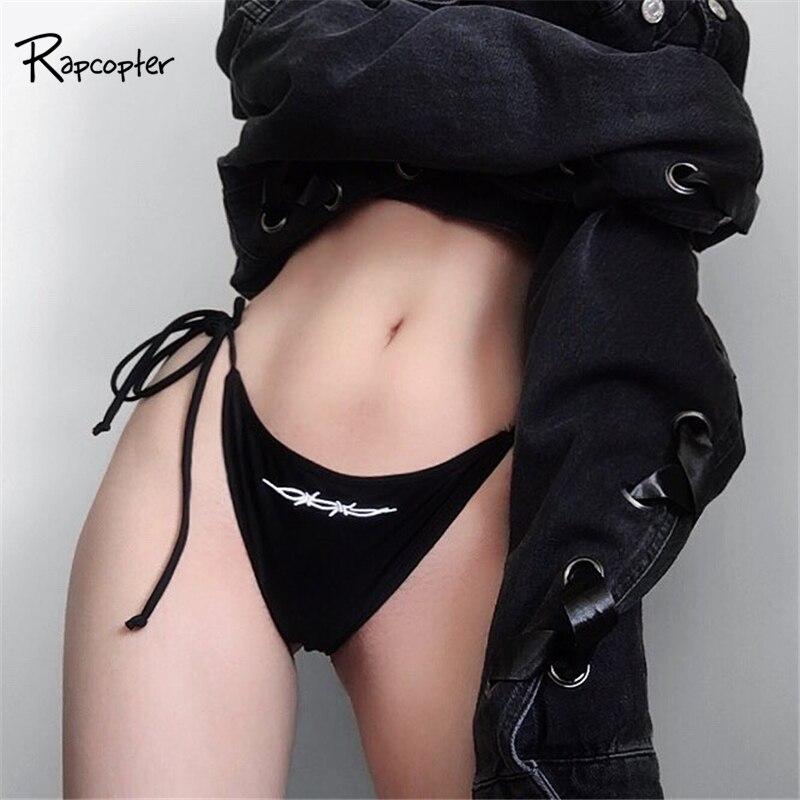 Rapcopter Womens Sexy Black Briefs Low-Rise Seaside Print Female Panties Embroidery Brambles Brief Women Fashion Pop Pantie 2018
