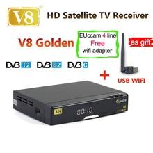 Freesat V8 Золотой Combo USB Wi-Fi рецептор de спутник DVB-S2 + T2 + C YouTube powervu IPTV спутниковый ресивер freesat V8 pro