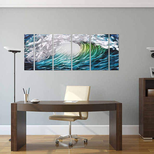 Well-known Aluminum Metal Wall Art Blue Wave Painting Original Abstract  DY57
