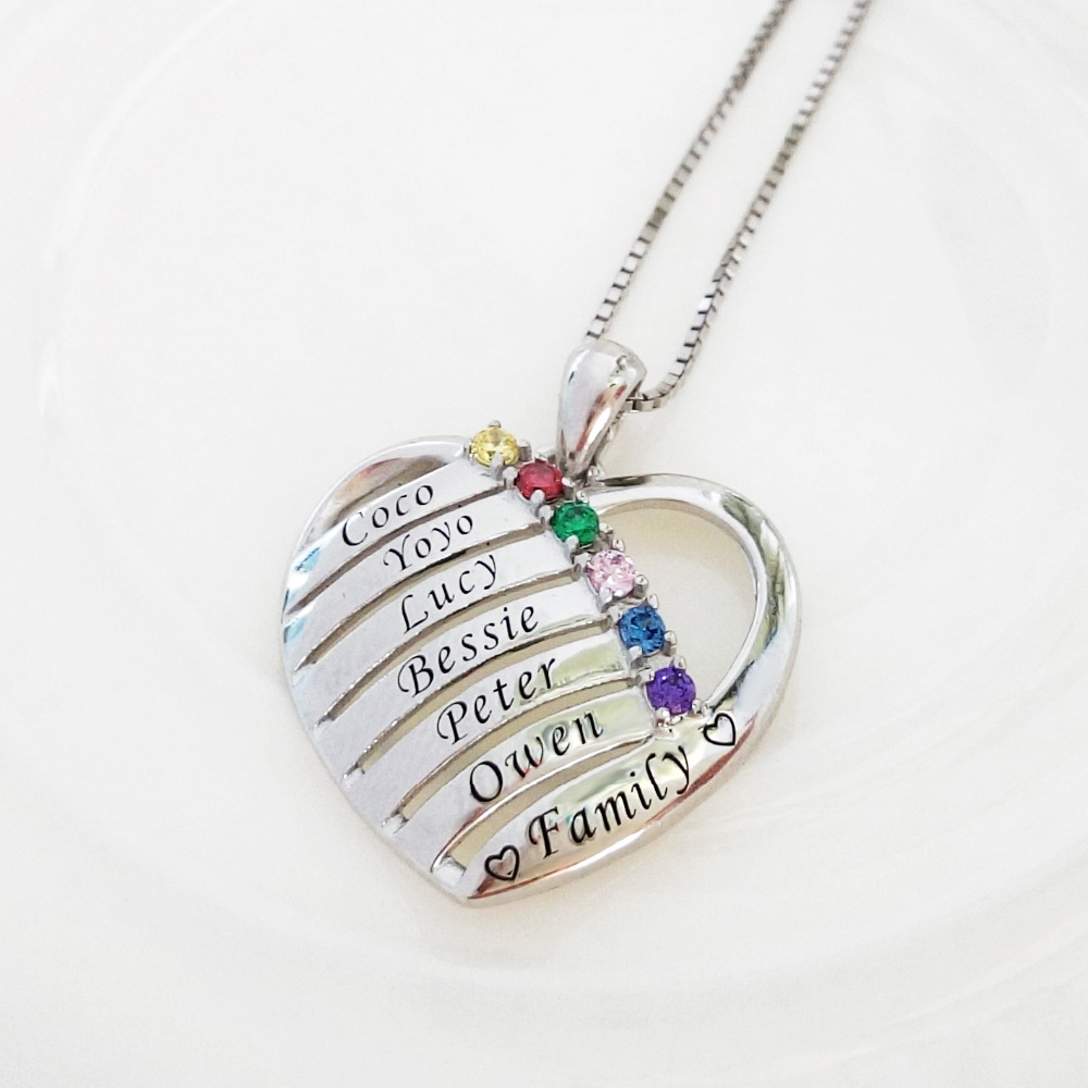 Aijaja personalised 925 sterling silver birthstones engraved names aijaja personalised 925 sterling silver birthstones engraved names heart necklaces pendants custom best friends family necklace in choker necklaces from aloadofball Choice Image