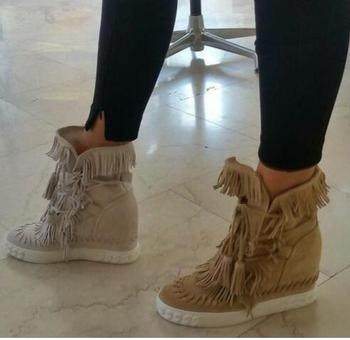 Hot Suede Fringed High Top wedge Heeled woman shoes round toe height increasing platform lace up tassel boots ankle boots women