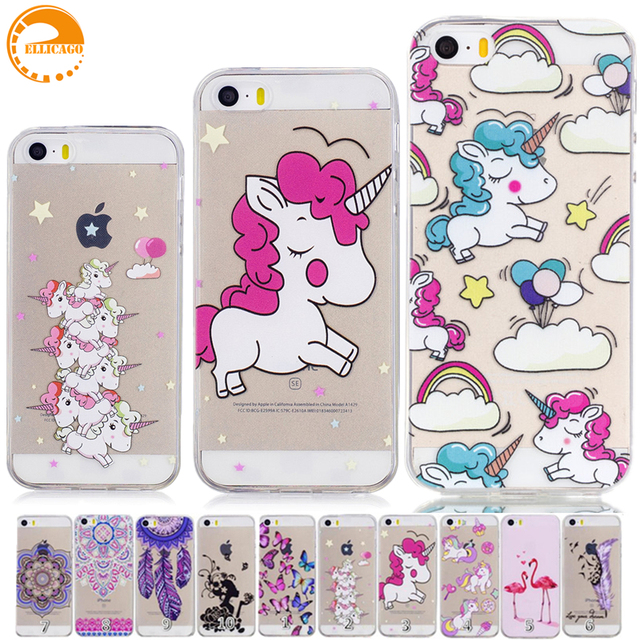separation shoes 844e7 d49f4 US $1.79 10% OFF|Cartoon Unicorn Transparent Case for coque iPhone 5 5S SE  Case Soft Silicon Cover Iphone5 Case for funda iPhone 5S Cover Cases-in ...