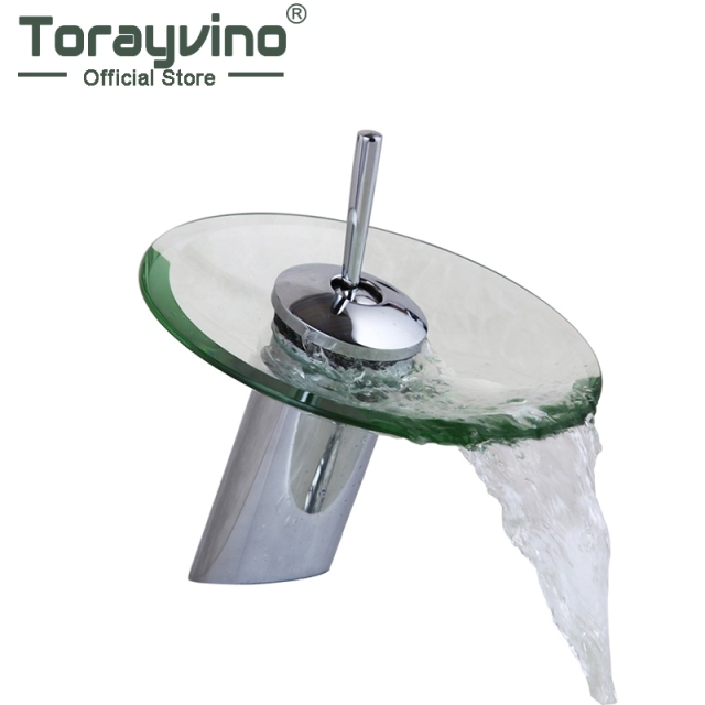 Torayvino Ru Bathroom Waterfall Round Glass Basin Faucet Chrome