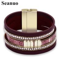 Seanuo Multi Layer Leather Round Buckle Bracelet Fashion Rhinestone Wide Magnetic Bracelets Bangles For Women Men