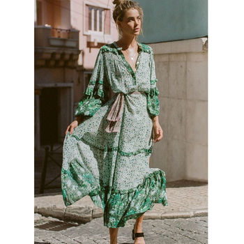 Summer Long Sleeve Beach Lotus Dress Green Spell Vintage Maxi Dresses Boho Casual V Neck Plus Size Dress vestidos verano Платье