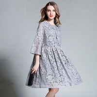Fashion 2017 Women Dresses Plus Size Fall Long Sleeve Lace Party Club Vintage Shirt Ruffles Dress
