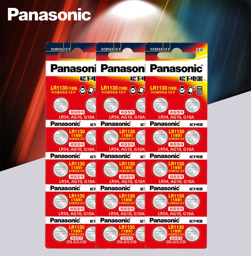 30pcs Panasonic <font><b>Battery</b></font> Cell <font><b>1.5V</b></font> <font><b>AG10</b></font> LR1130 Alkaline Button <font><b>Battery</b></font> <font><b>AG10</b></font> 389 LR54 SR54 SR1130W 189 LR1130 Button <font><b>Batteries</b></font> image