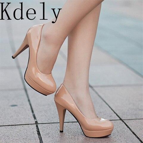 Sapato Salto Alto Couro Envernizado Feminino Calçado Nude Afiado Paltform Casamento Tamanho Grande 34-42 Mod. 281898