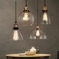 Vintage Pendant Light Glass Hanglamp E27 industrial Pendant lamps lighting bar cafe Kitchen Fixtures Luminaire ceiling lamps