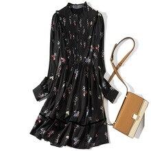 Stand neck long sleeve print dress 2019 new women spring a line dress недорого