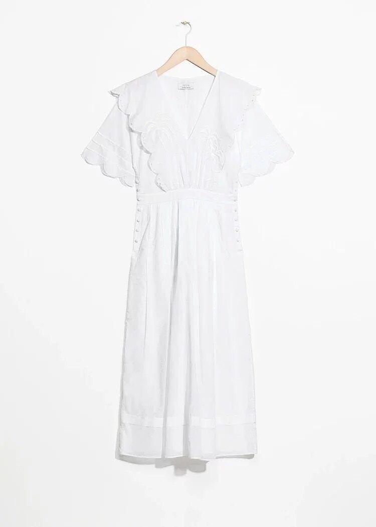 Kadın Giyim'ten Elbiseler'de 2019 Yeni Kadın Pamuk Beyaz uzun elbise Kısa Kollu Nakış Fırfır Yaz Taze Midi Elbise'da  Grup 3