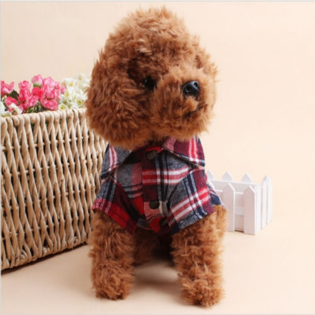 Dog Shirts Plaid England Style Dog Clothes Blouse Tops Shirts Summer Autumn For Pet Puppy Dogs Cats Clothes 1