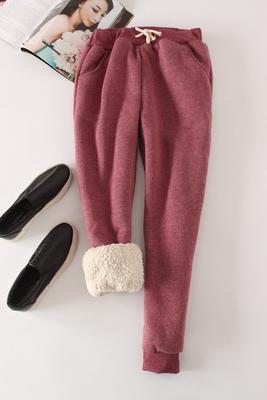Women Pant Winter Thick Lambskin Cashmere Pants Warm Female Casual Pants Loose Harlan Pants Long Trousers Plus Size Xl YP1254 1