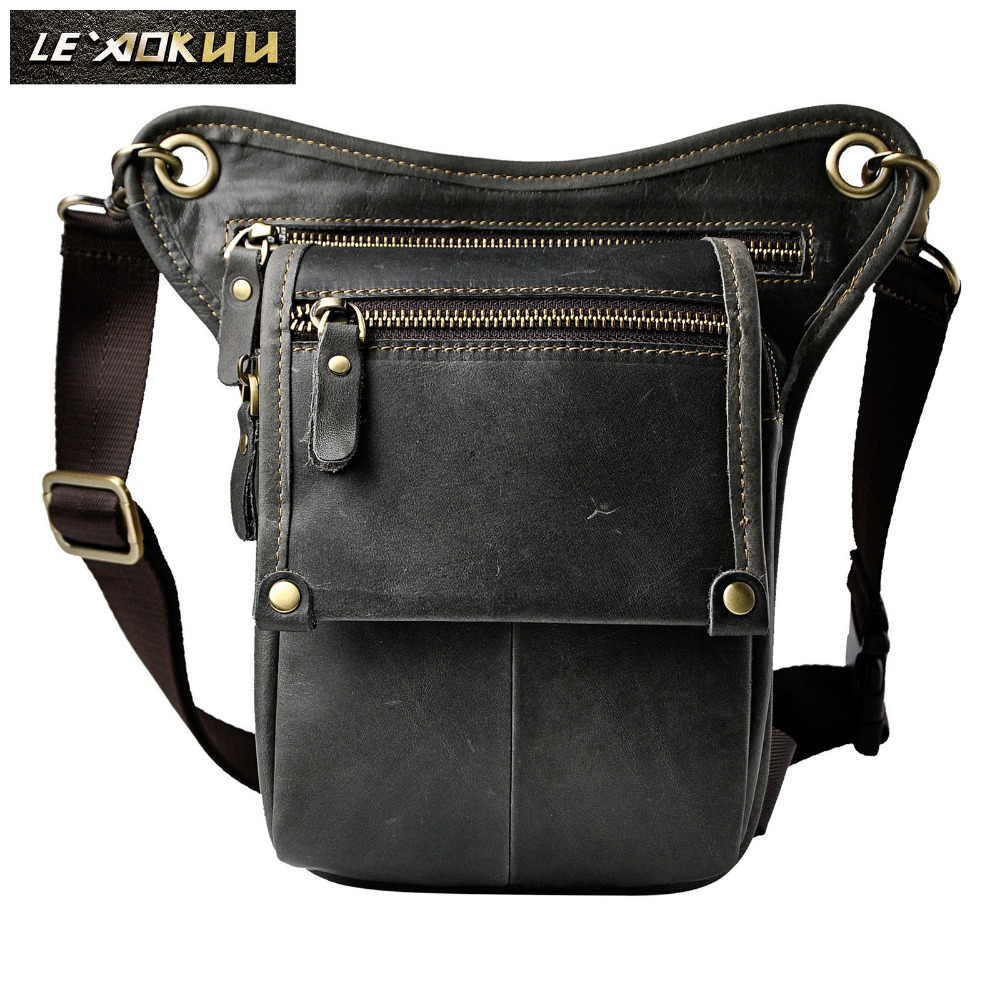Quality Leather Men Casual Fashion Small Shoulder Messenger Sling Bag Design Travel Waist Belt Pack Pouch Drop Leg Bag 211-4-g