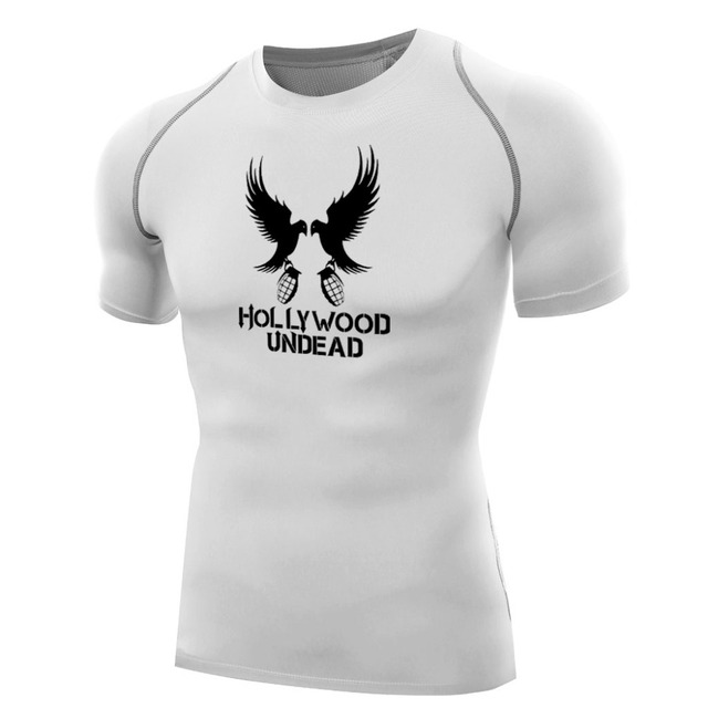 d741754407 Camisas Dos Homens da moda Hollywood Undead Compressão Calças Justas Tops T- shirt de Secagem