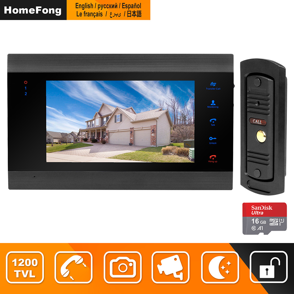 HomeFong Porta Interfone Telefone Video Da Porta Vídeo Porteiro para Casa 7 polegada HD Monitor 1200TVL Campainha Suporte de Câmera Câmera de CCTV