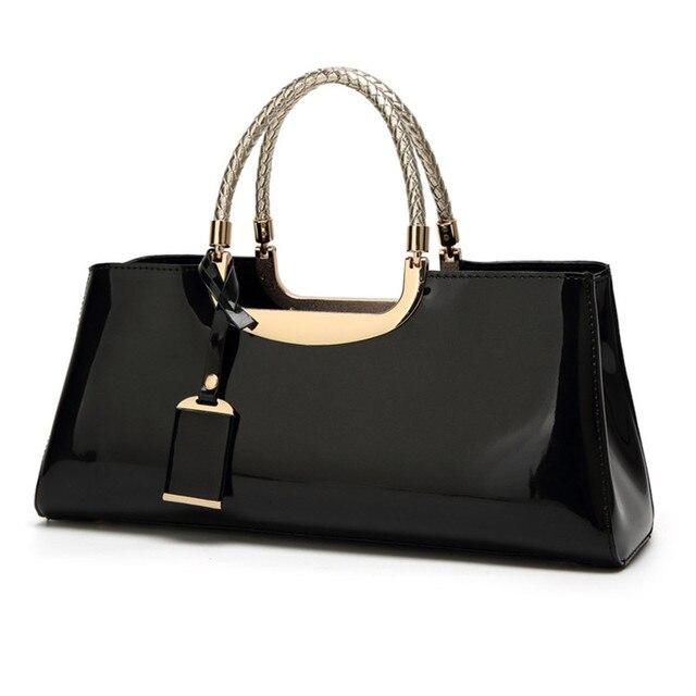 High Quality European Brand Patent Leather Women Bag Female Travel Shoulder Tote Italian Handbags Sac