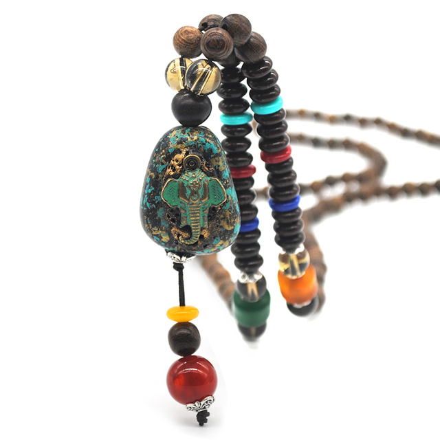 Bohemian Wood Beaded Necklace Mawgie