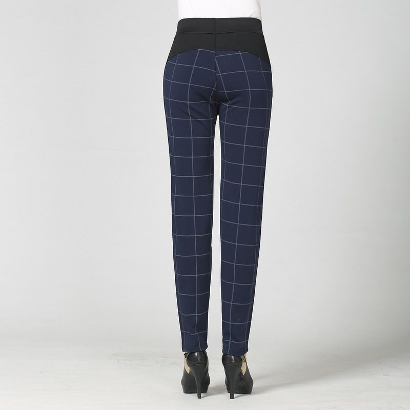 Woman Casual Pant Navy Blue Green Black Plaid Trousers Women Spring Autumn Winter Trouser High Waist Elastic Band Pantalonese XL in Pants amp Capris from Women 39 s Clothing