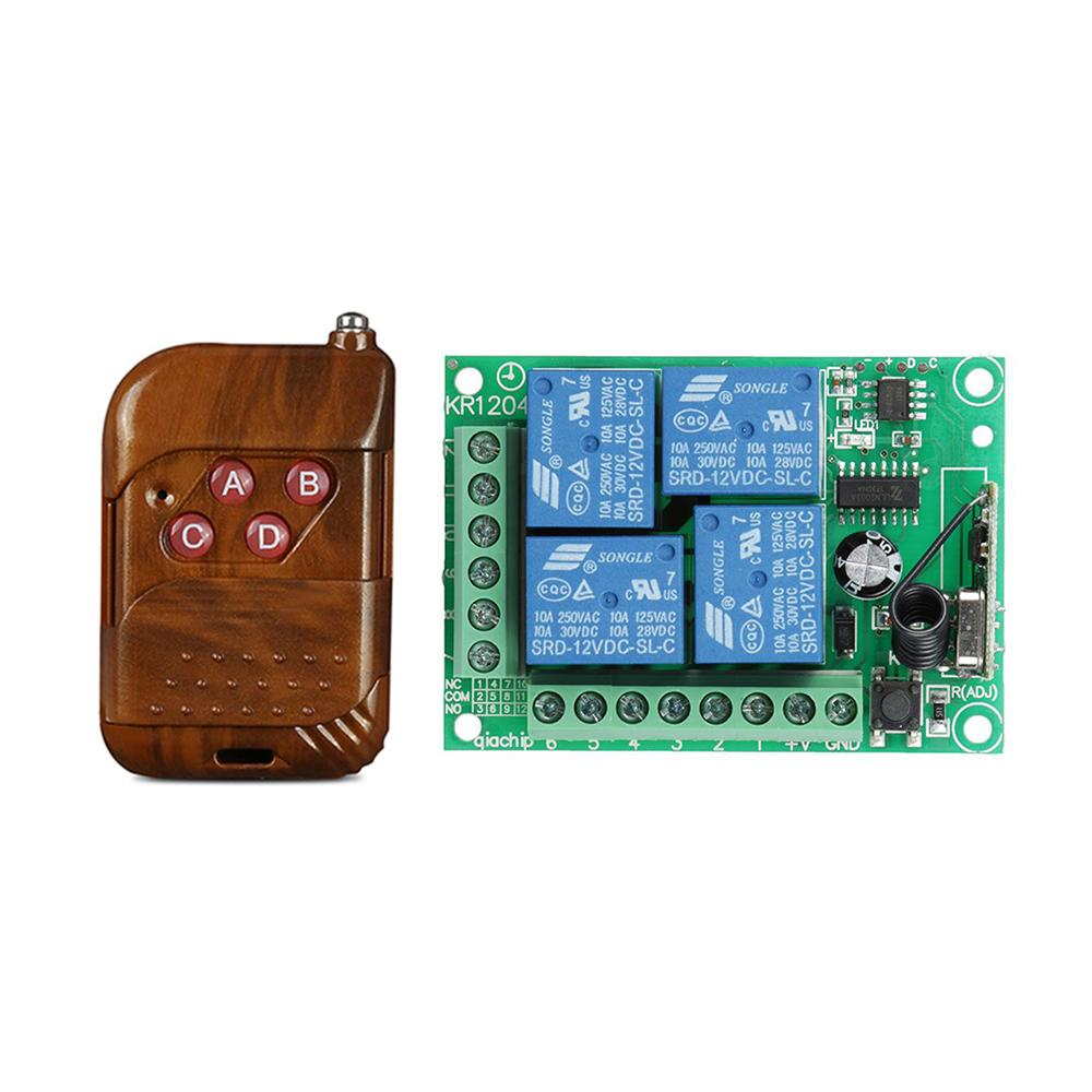433MHz 4CH Universal Remote Control Switch Transmitter Learning Code with 433 MHz 4CH Relay Receiver Module for Door Opener