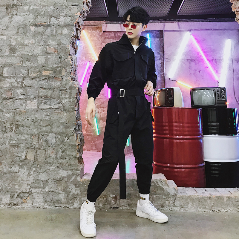 Male Casual Long Sleeve Hooded Jumpsuit Pant Tooling Cargo Trousers Men Fashion Streetwear Hip Hop Harem Pant Overalls