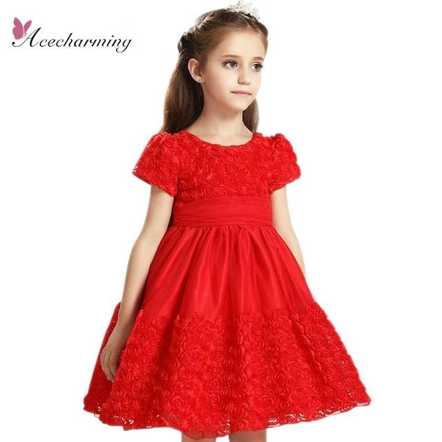 2017 Rojo de Flores Chicas de Moda Formal Bautizo Boda de dama de Honor de Baile ropa de Verano Princesa Dress Edad enfant envío gratis