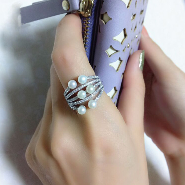[YKIN] Pearl jewelry 925 sterling silver ring mosaic of natural freshwater pearl original women 's fine jewelry