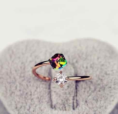 คริสตัลร้อนสาวปรับแหวนเปิดใหม่ 2018 สี Zircon Stones แหวนสำหรับผู้หญิงงานแต่งงานเครื่องประดับอุปกรณ์เสริมของขวัญ