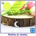 (1 pc/lot) Envío Gratis Sintético de Alta Calidad 8*11mm Blanco OP17 Opal Luna Colgante de la Forma con Collar de plata esterlina 925