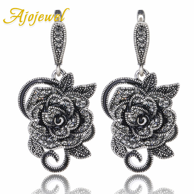 Ajojewel Beautiful Black Rhinestone Big Flower Vintage Earrings For Women Costume Jewelry For Party Wedding Gifts Match Gift Box