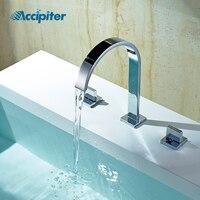 Chrome Torneira Banheiro Two Handles Deck Mounted Bathroom Widespread Faucet Bathroom Basin sink Mixer Tap 3 Hole Double