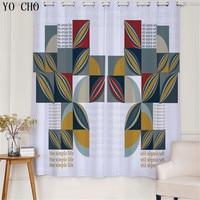 YO CHO Modern fashion style geometric patterns blackout cortinas salon luxury urtains blackout curtains blackou living room