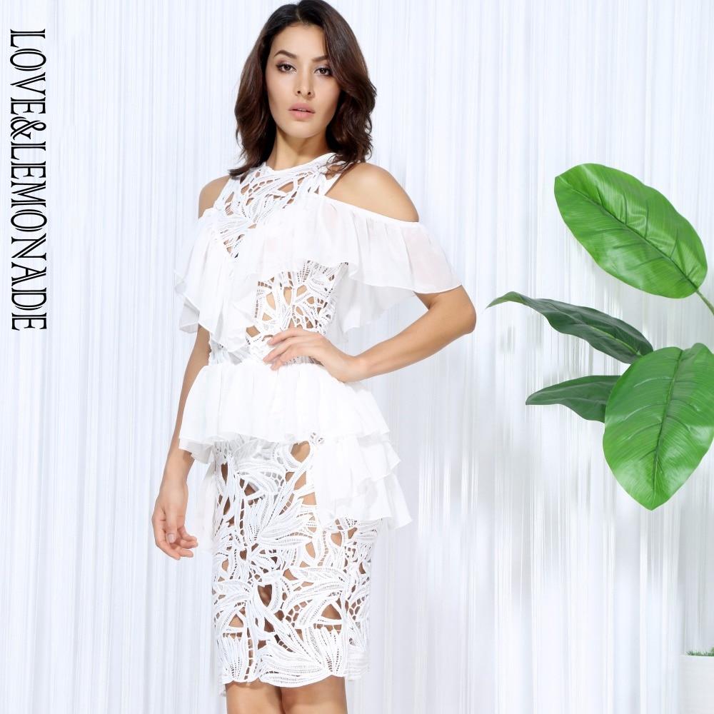Lm0041 Leaf amp;lemonade Lace White Love Party Dress Chiffon Hollow Lotus zYngApq