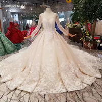 LS11288 2019 new design wedding dresses with detachable train o-neck long  sleeve lace up 30e62a3b0d32